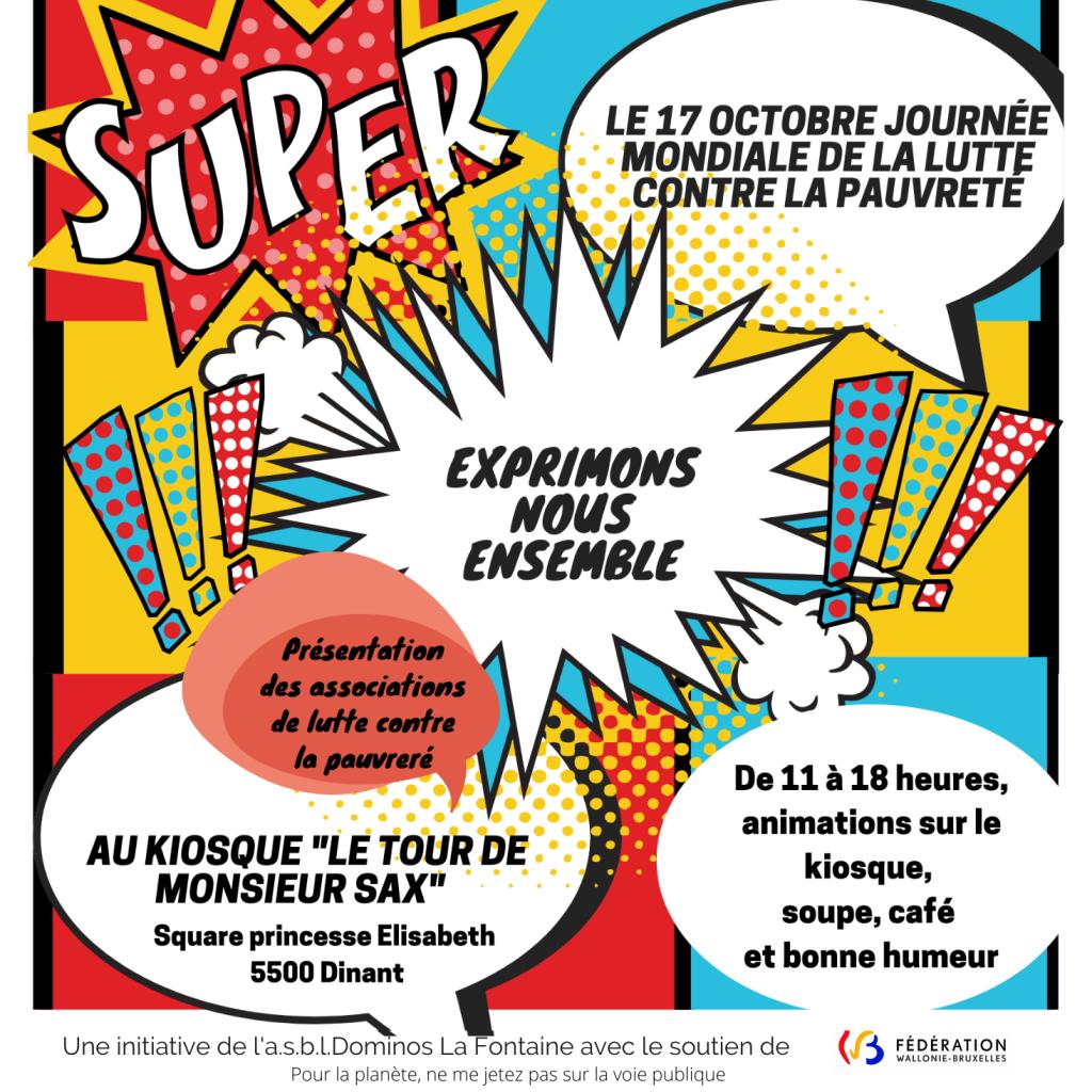 Affiche de l'Asbl Dominos La Fontaine du 17 10 2020